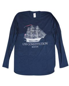 Adult Navy ''Line Drawing'' Long Sleeve Tee