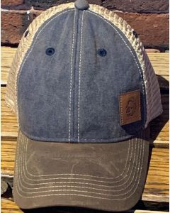 USS Constitution Leather Patch Silhouette Trucker Cap