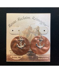 USSC Copper Earrings: Anchor Round Silver Design