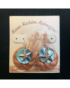 USSC Copper Earrings: Aqua Starfish Design