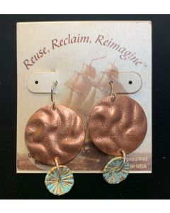 USSC Copper Earrings: Dangle Shell Disc Design