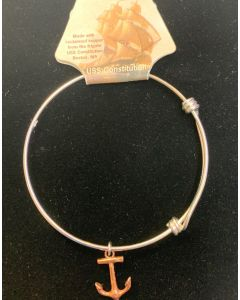 Silver Plated Bracelet with USSC Copper Anchor Charm