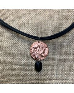 Rope Necklace with USSC Copper and Black Stone