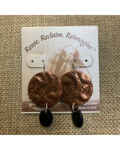 USSC Copper Earrings: Black Stone and Disc Design