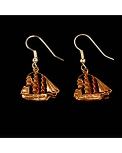 Copper Ship Earrings