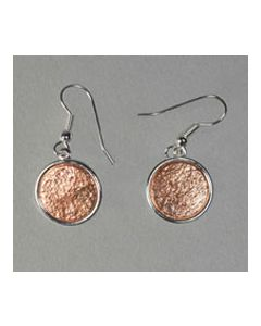 USSC Copper Earrings: Silver Round Design
